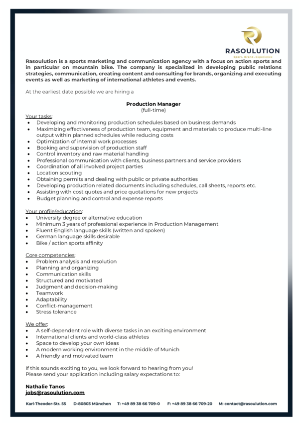 Production Manager (M/W/D)