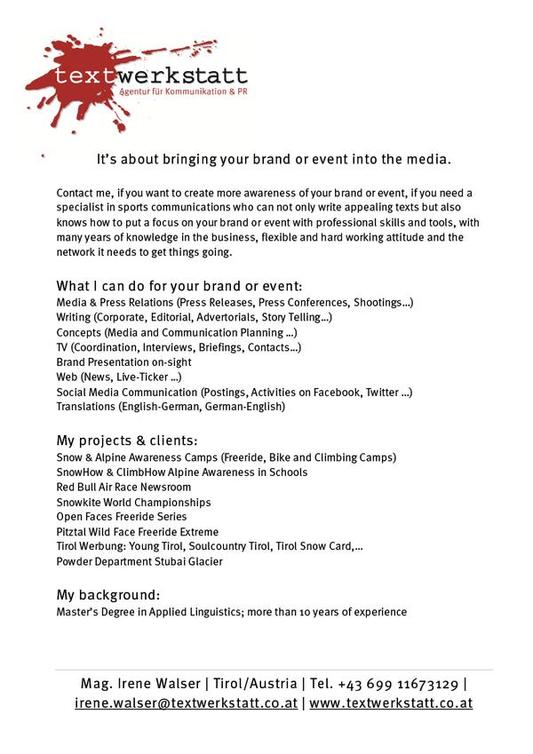Press & Media Relations, PR, Writing