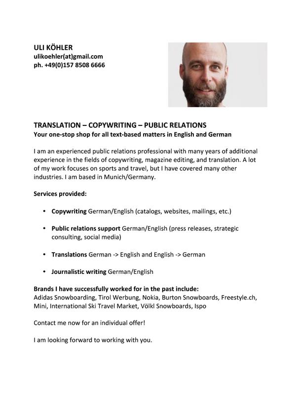 PR, Translation, Copywriting, Editing