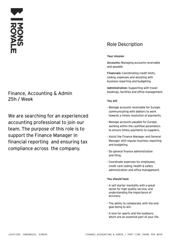 Finance, Accounting & Admin 25h / Week (M/W/D)