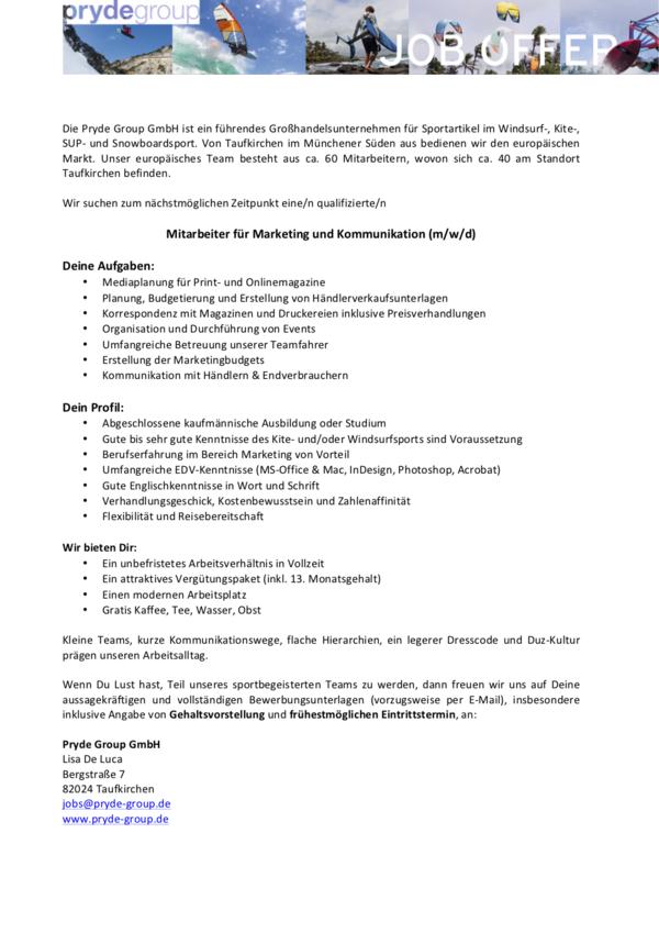 Mitarbeiter für Marketing und Kommunikation (m/w/d)