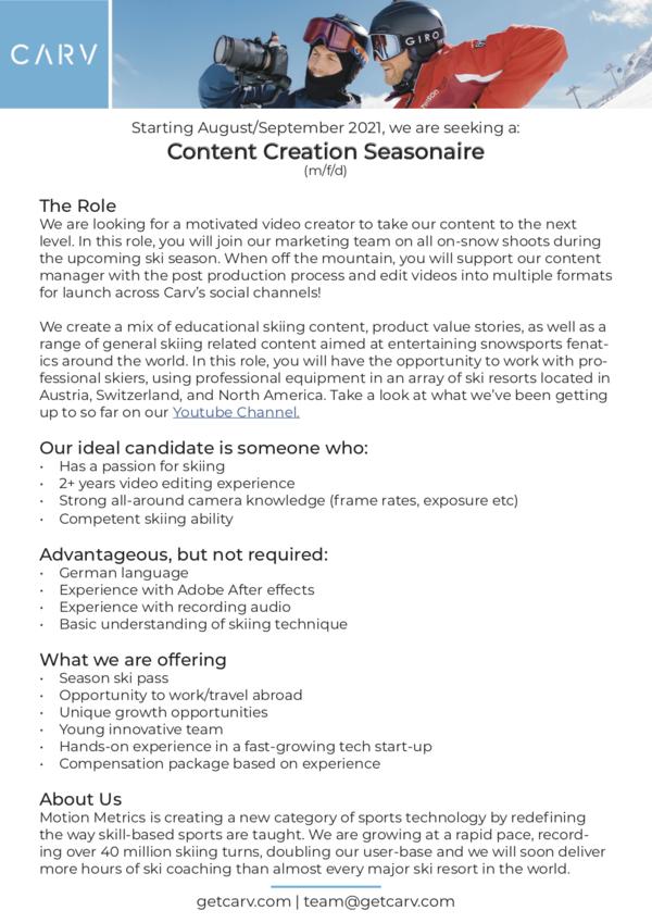 Content Creation Seasonaire (M/W/D)