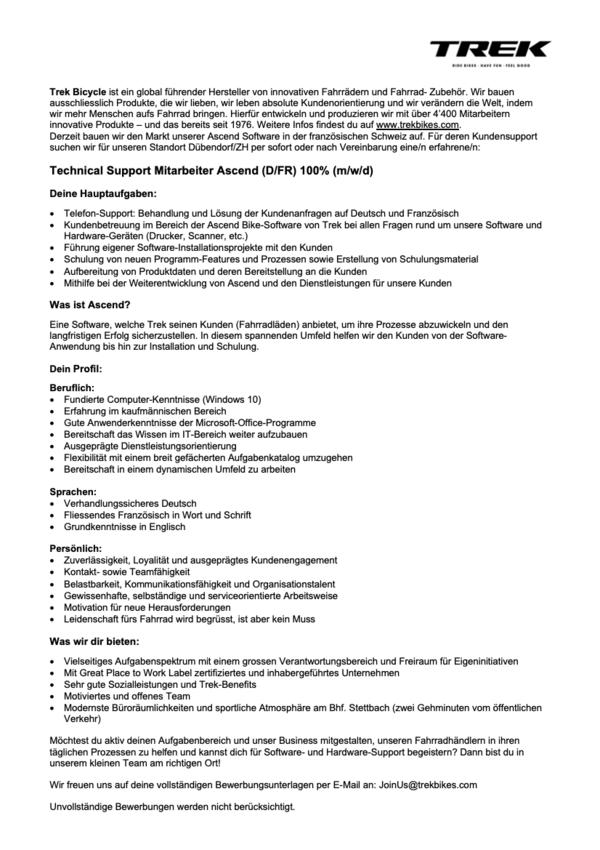 Technical Support Mitarbeiter Ascend (D/FR) 100% (m/w/d)