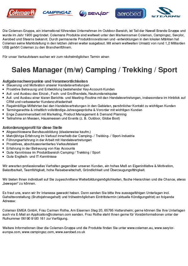 Sales Manager SPORT/ Camping/ Trekking