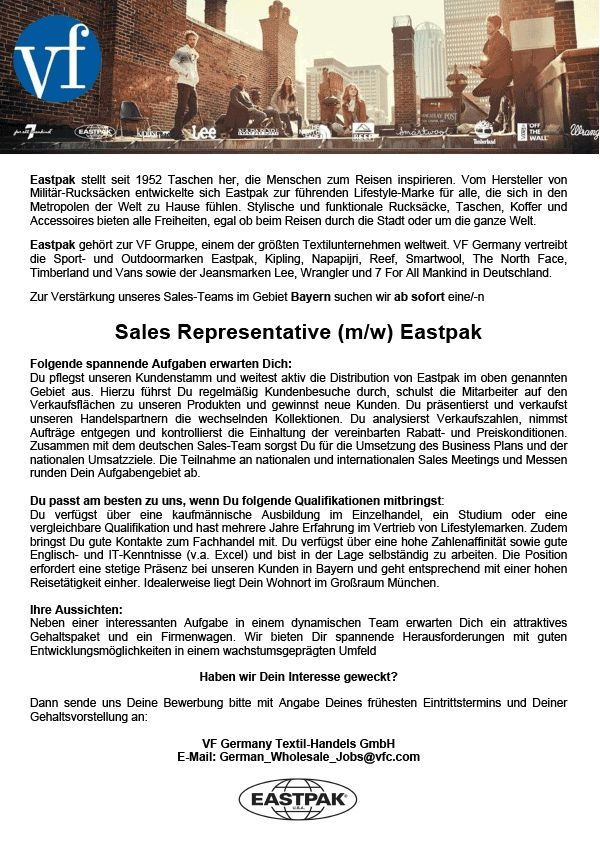Sales Representative (m/w) Eastpak