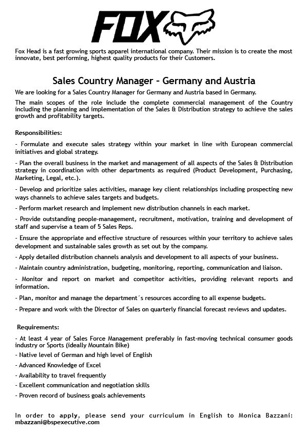 Sales Country Manager Germany and Austria