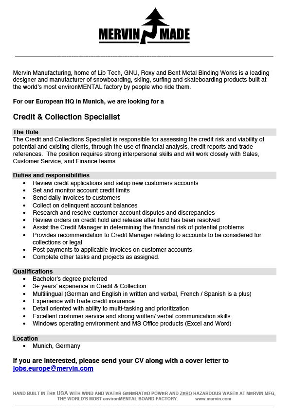 Credit & Collection Specialist