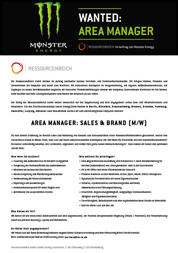 Area Manager: Sales & Brand (m/w)