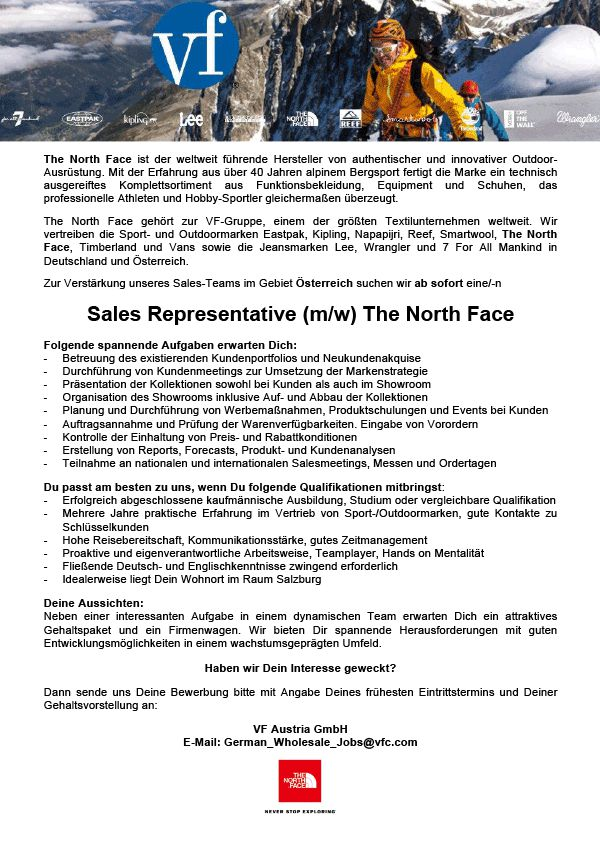 Sales Representative (m/w) The North Face