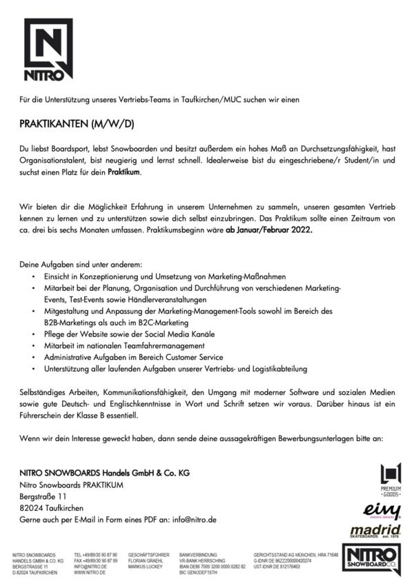 Praktikum Marketing & Vertrieb (M/W/D)