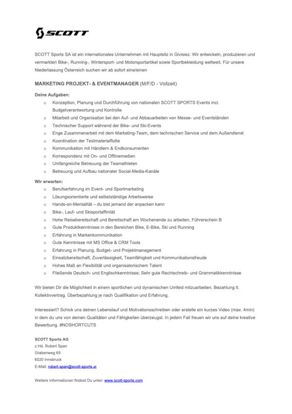 MARKETING PROJEKT/ EVENT MANAGER (M/W/D)
