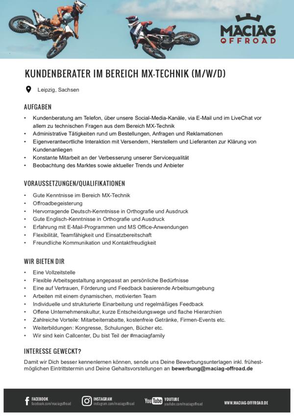KUNDENBERATER IM BEREICH MX-TECHNIK (M/W/D)