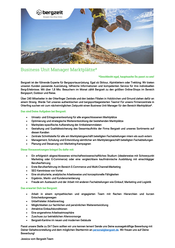 Business Unit Manager Marketplace (f/m)