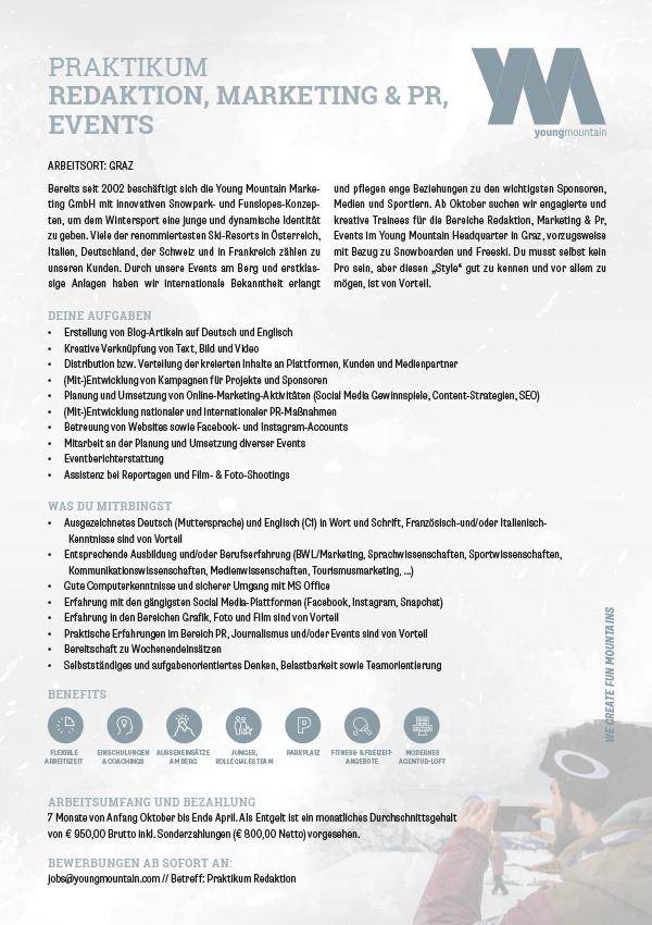 Praktikum Redaktion, Marketing & PR, Events