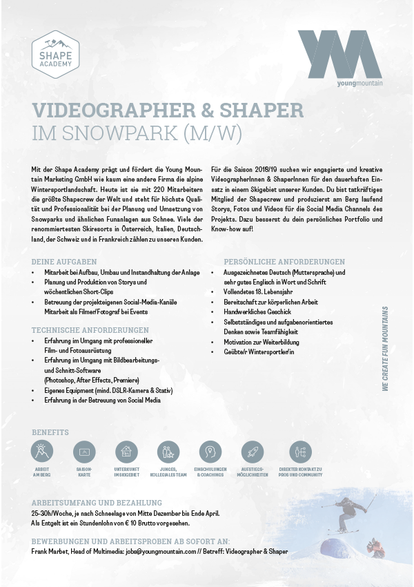 Videographer & Shaper im Snowpark (M/W)