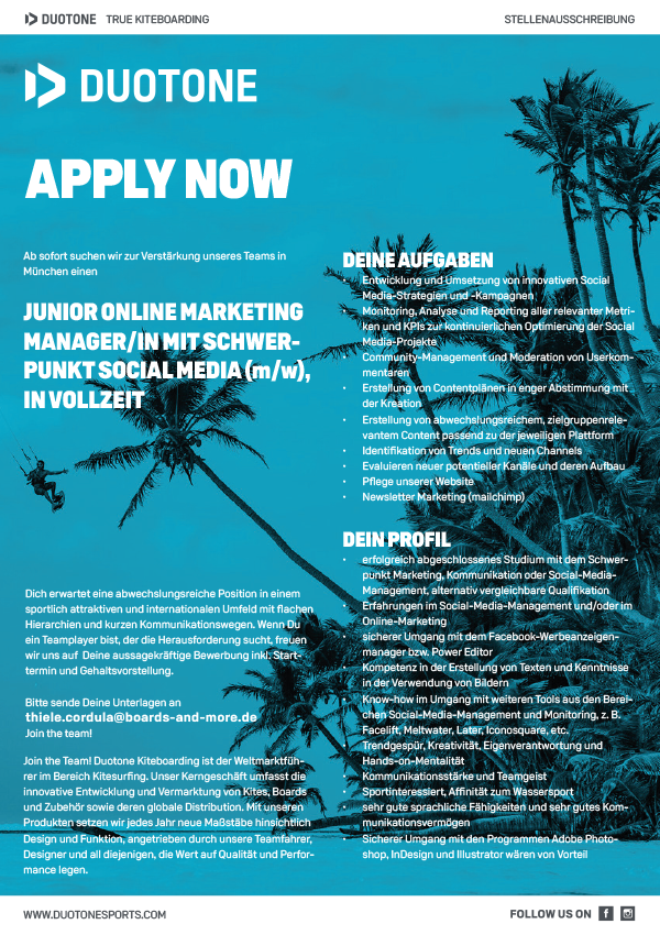 JUNIOR ONLINE MKTG: MANAGER/IN SCHWERPUNKT SOCIAL MEDIA, VOLLZEIT
