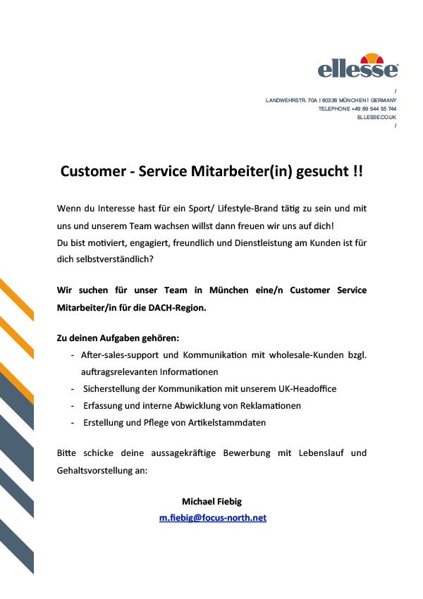 Customer - Service Mitarbeiter(in)