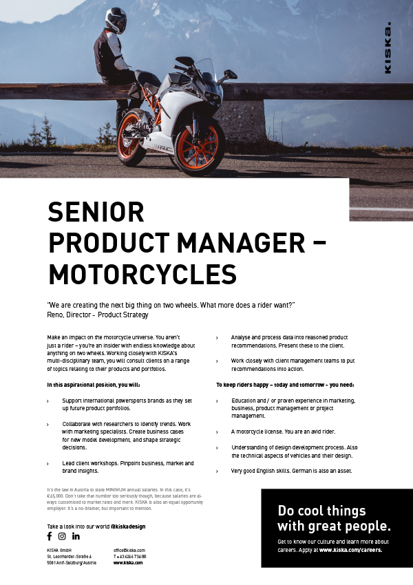 Senior Product Manager - Motorcycles