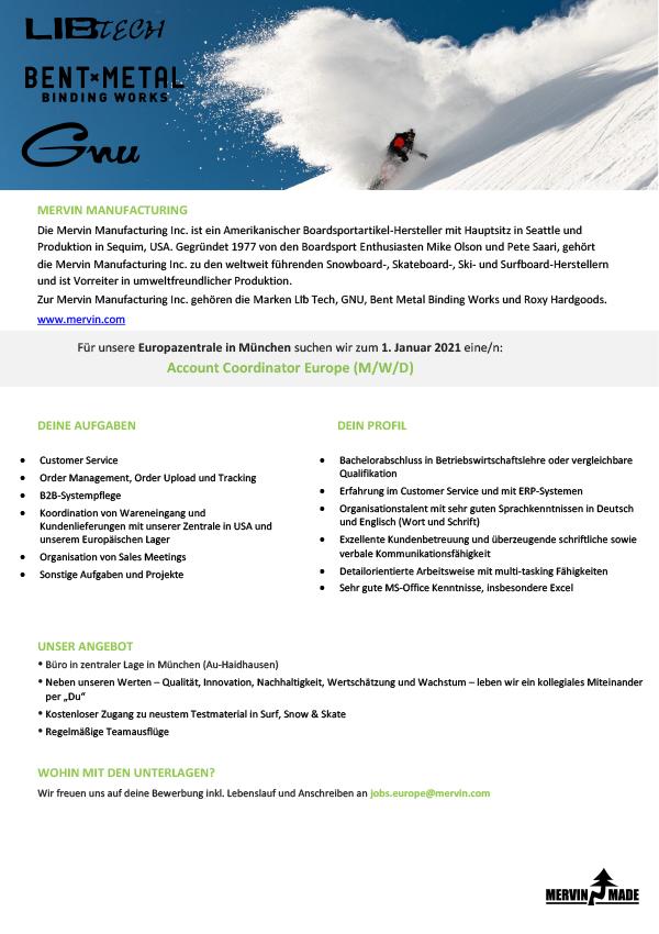 Account Coordinator Europe (M/W/D)