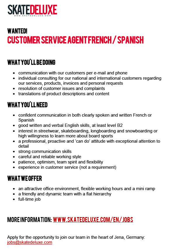 Customer Service Agent French / Spanish