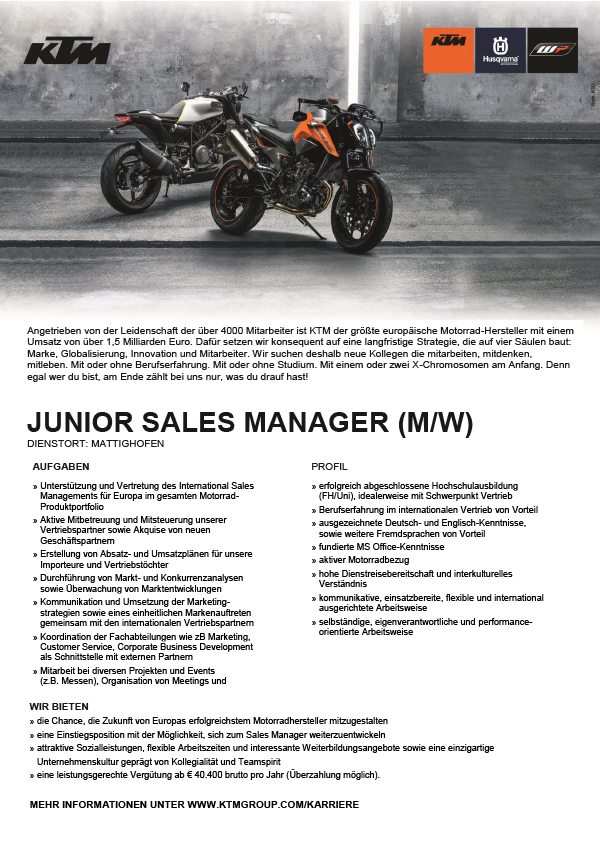 Junior Sales Manager (m/w)
