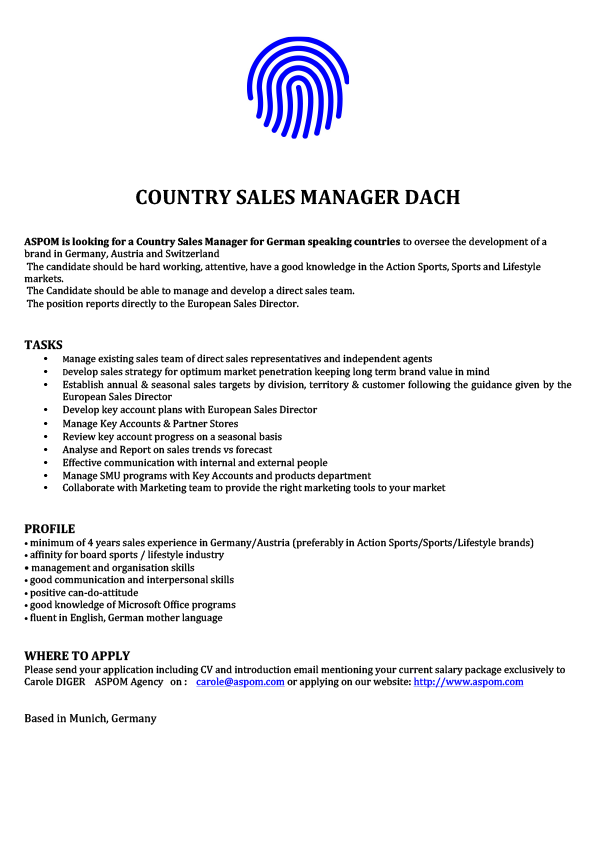 Country Sales Manager DACH