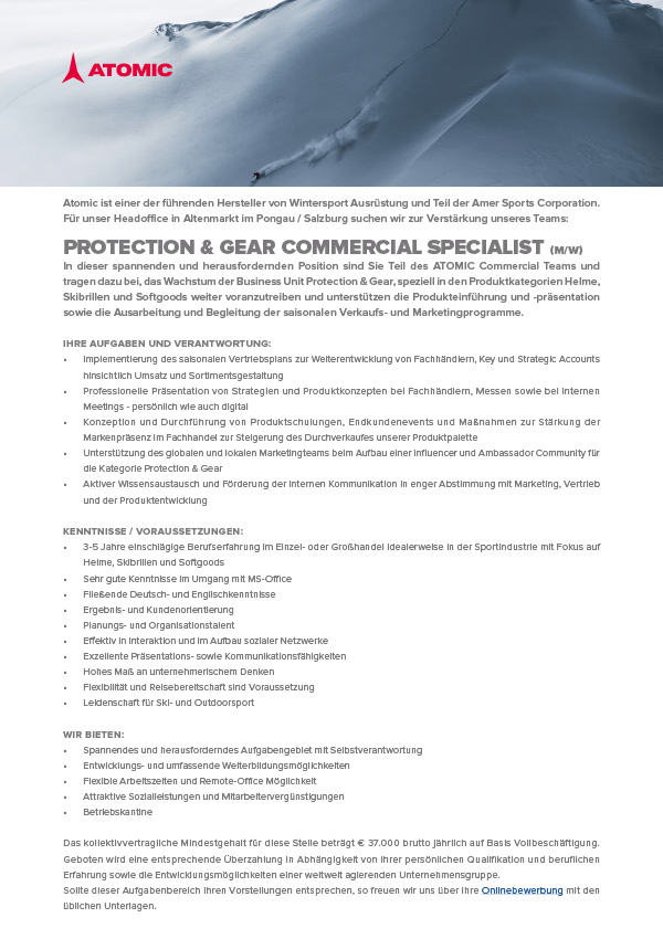PROTECTION & GEAR COMMERCIAL SPECIALIST (M/W)