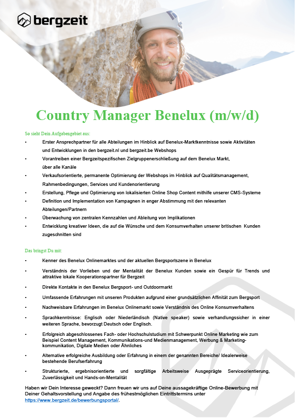 Country Manager Benelux (m/w/d)