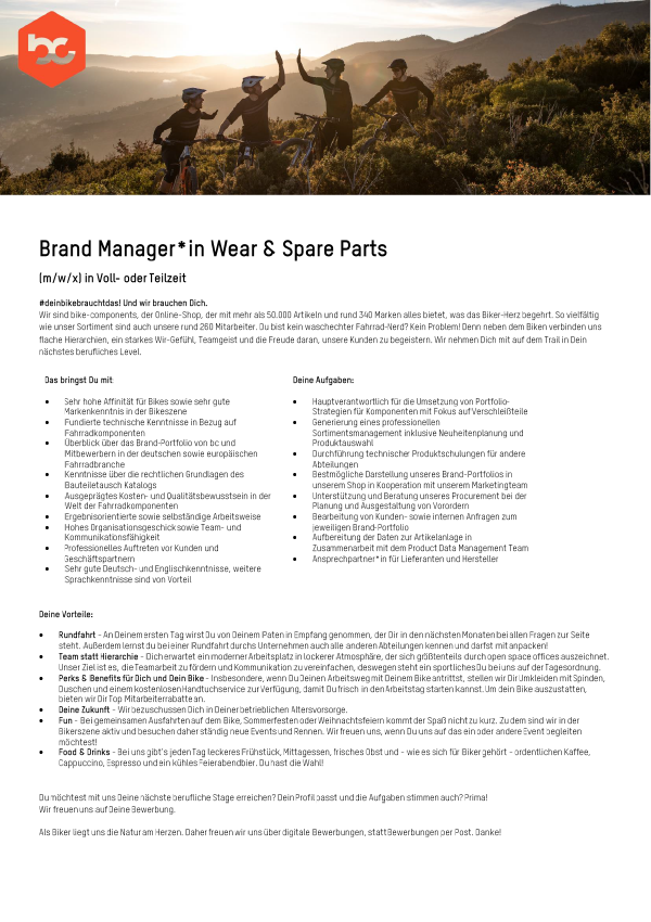 Brand Manager*in Wear & Spear Parts (M/W/D)
