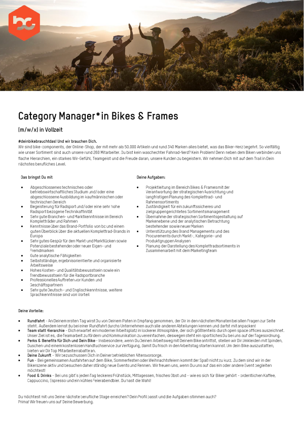 Category Manager Bikes & Frames