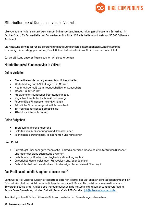 Mitarbeiter Kundenservice (m/w) in Vollzeit