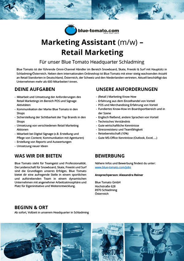 Marketing Assistant(m/w) - Retail Marketing