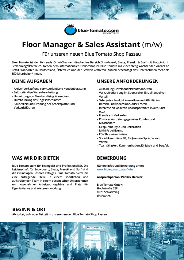 Floor Manager & Sales Assistant(m/w)
