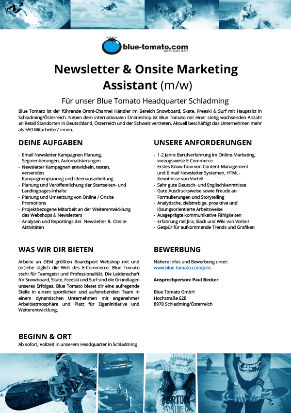Newsletter & Onsite Marketing Assistant (m/w)