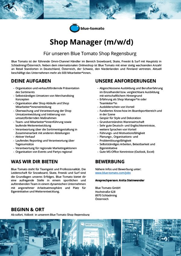 Shopmanager Regensburg (m/w/d)