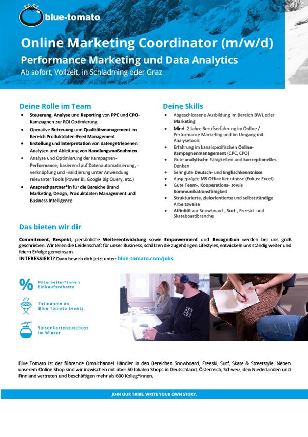 Online Marketing Coordinator (m/w/d) - Performance Marketing und Data Analytics
