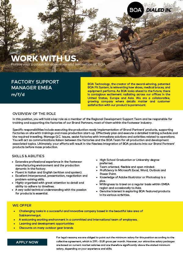 Factory Support Manager EMEA (m/f/d)