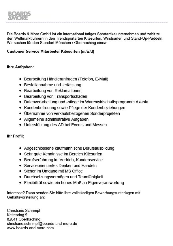 Customer Service Mitarbeiter Kitesurfen (m/w/d)