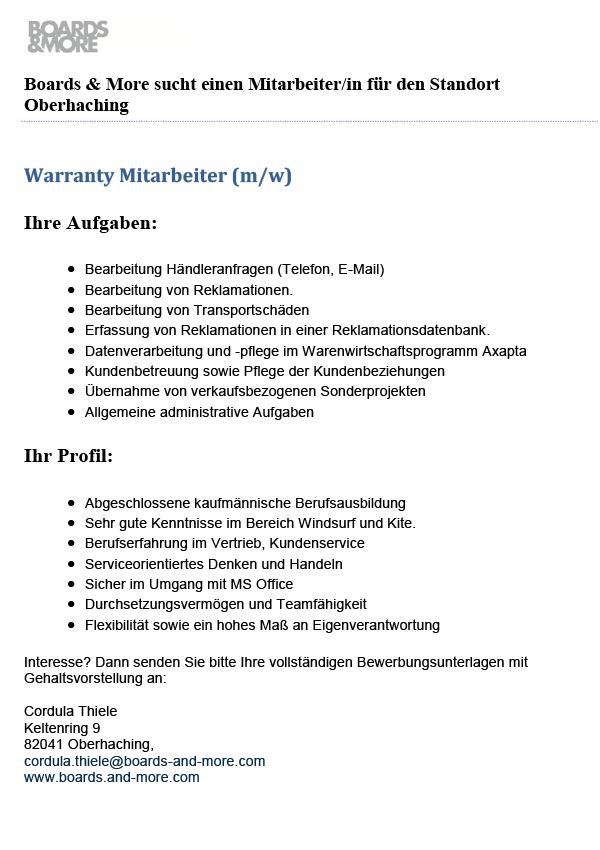 Warranty Mitarbeiter/in