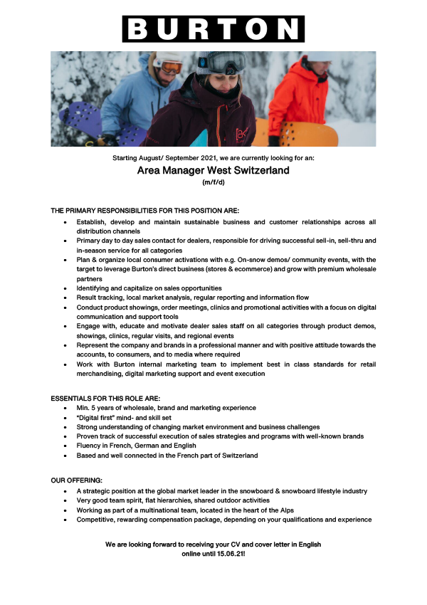 Area Manager West Switzerland (M/W/D)
