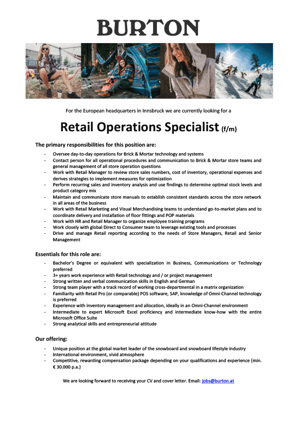 Retail Operations Specialist (f/m)