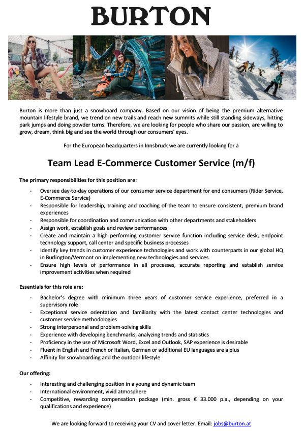 Team Lead E-Commerce Customer Service