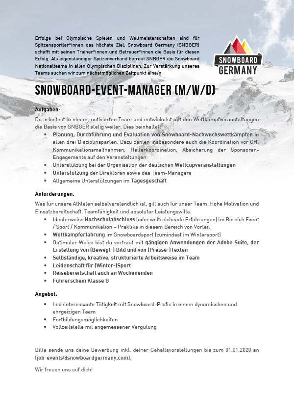 Snowboard-Event-Manager (m/w/d)