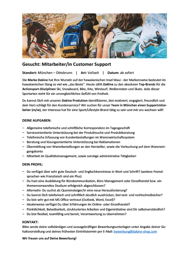Mitarbeiter/in Customer Support