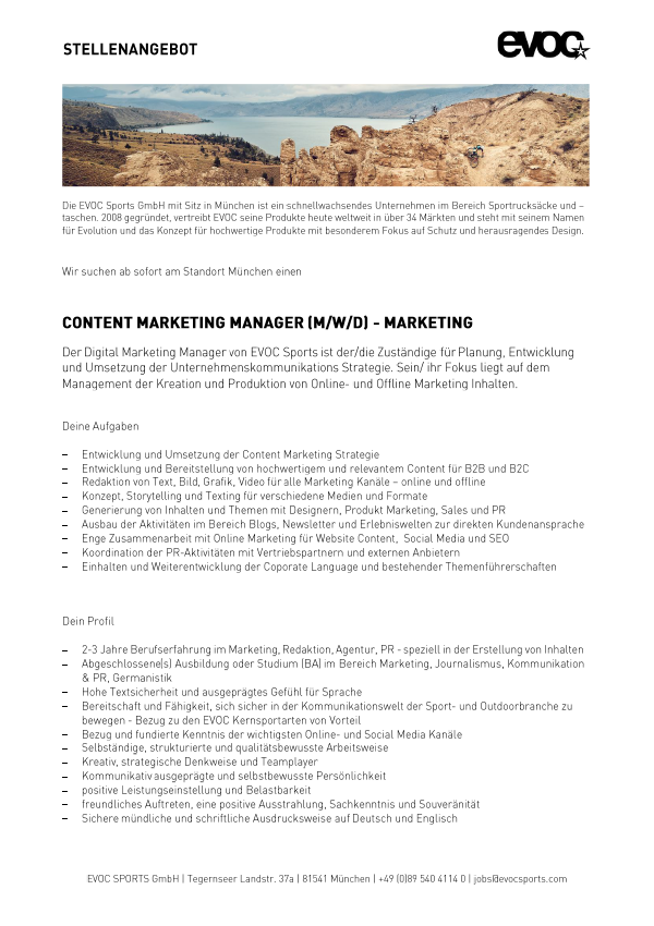 Content Marketing Manager (M/W/D)