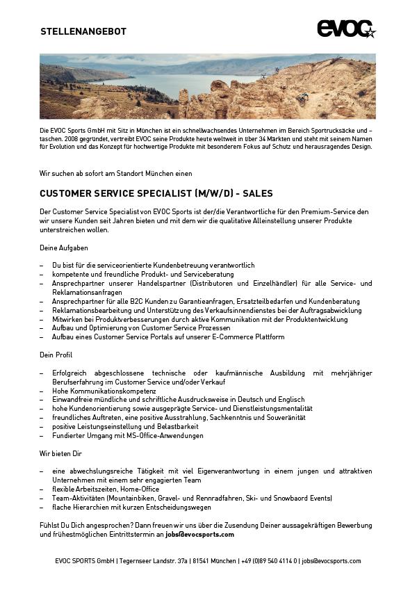 CUSTOMER SERVICE SPECIALIST (M/W/D) - SALES
