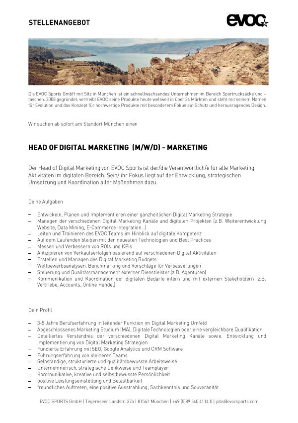 Head of Digital Marketing (M/W/D)