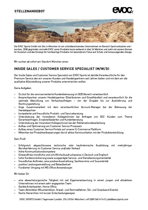 INSIDE SALES / CUSTOMER SERVICE SPECIALIST (M/W/D)