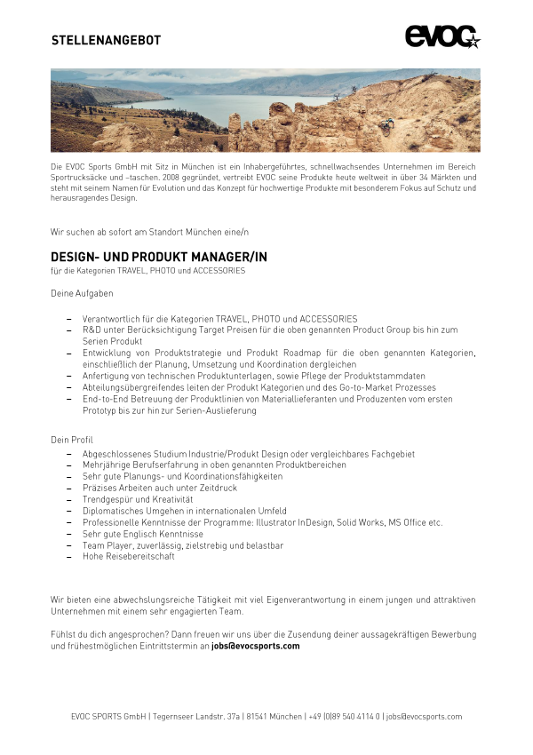 DESIGN- UND PRODUKT MANAGER/IN