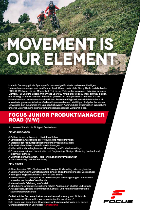 FOCUS JUNIOR PRODUKTMANAGER ROAD (M/W)